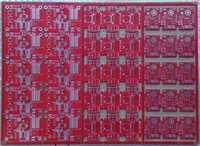 My first PCB Panel in red:-), from a new PCB manufacturer, from Left: 1.Meldco Demoboard. atmega88pb/atmega328pb, 2.New nurse call display unit., 3.Wireless Transceiver.