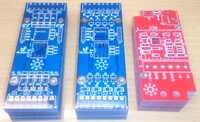 3 new pcbs from left: 8 Relay Output, 8 Open Collector Output, Garage Controll.